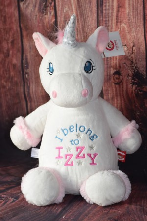 Cubbie Unicorn White with embroidered message & Free Delivery SORRY OUT OF STOCK