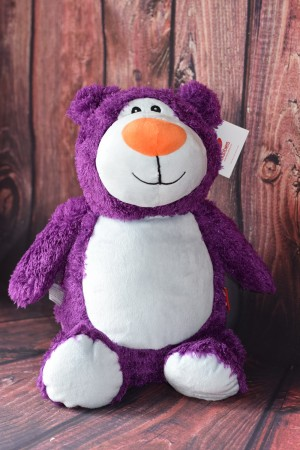 Purple Teddy Bear with embroidered message & Free Delivery