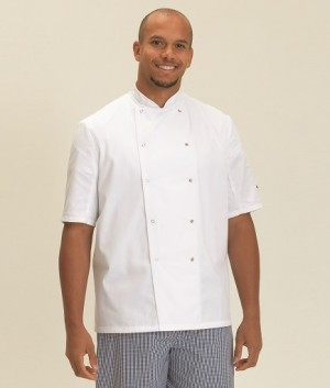 Dennys London Short Sleeve Press Stud Chef's Jacket Free delivery on orders over £100