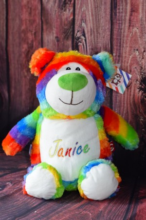 Cubbie Rainbow Teddy Bear with embroidered message & Free Delivery