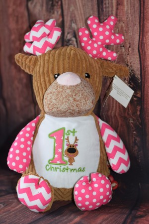 Cubbie Harlequin Pink Deer with embroidered message & Free Delivery