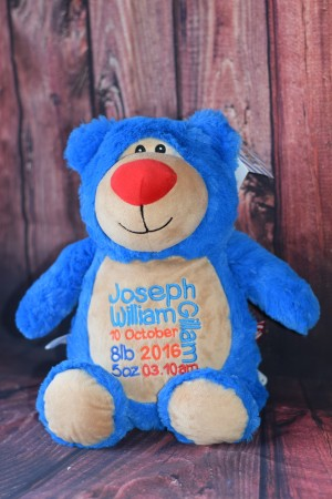 Blue Teddy Bear with embroidered message & Free Delivery