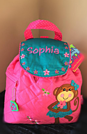 Stephen Joseph Childrens pink Quilted Monkey Backpack Embroidered price & Free Delivery